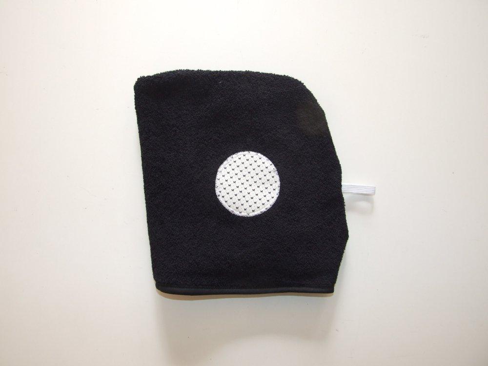 Turban de bain imprimé papillons en éponge noire--9995627461956
