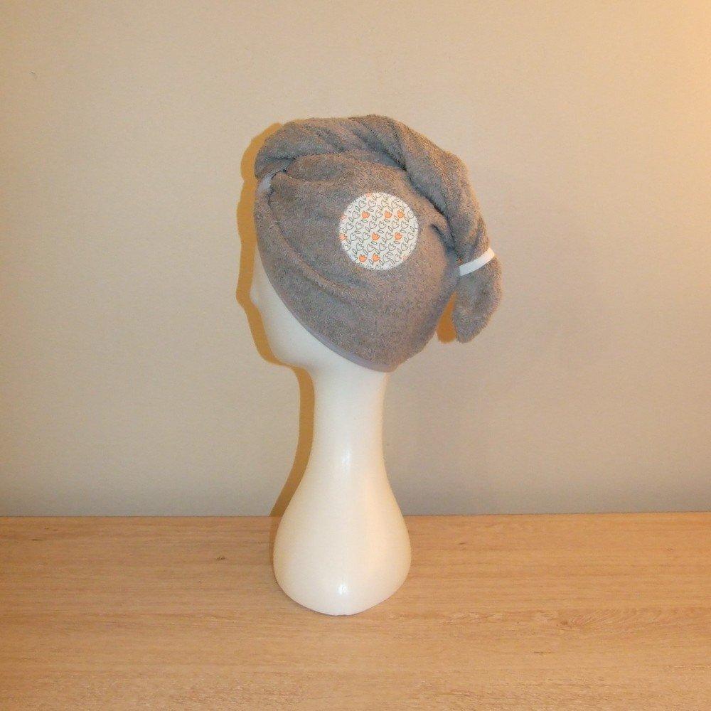 Turban de bain imprimé tulipes en éponge grise--9995628575133