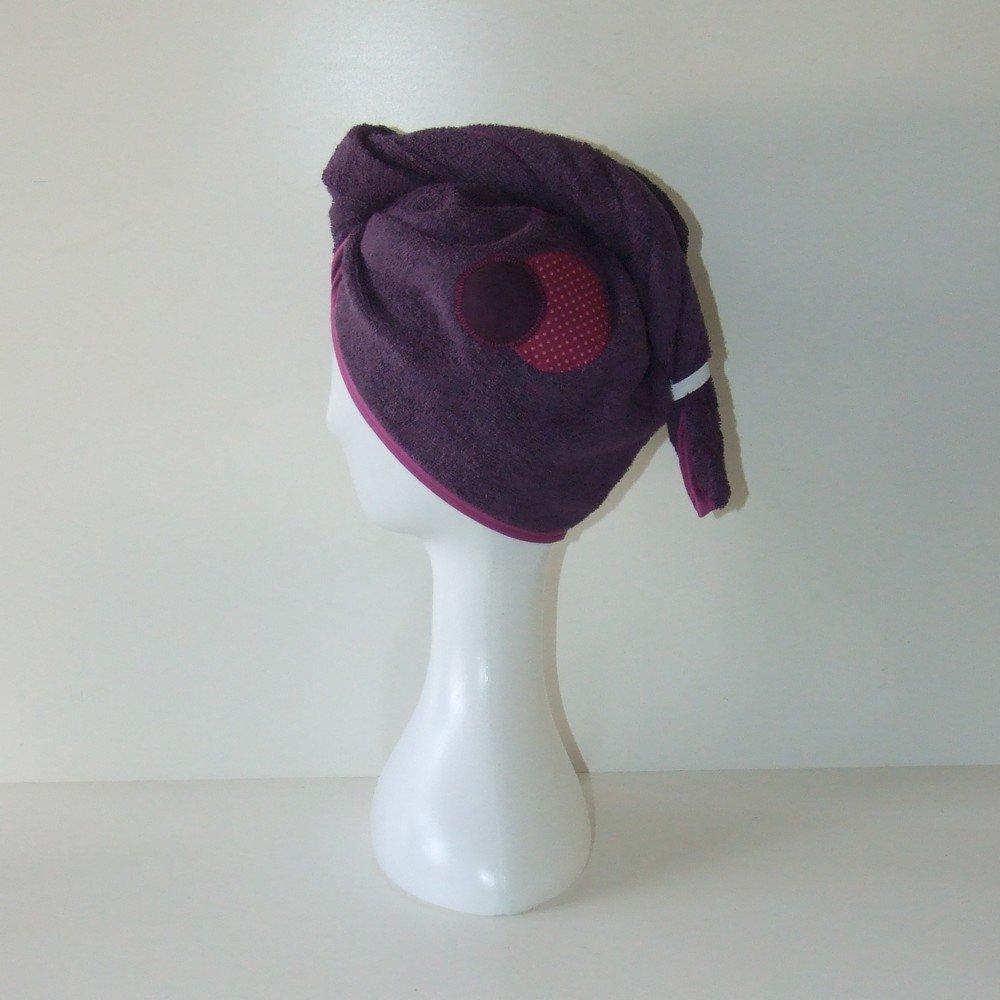 Turban de bain et lingettes lavables imprimé pois, triangles pastel éponge prune--9995256132616