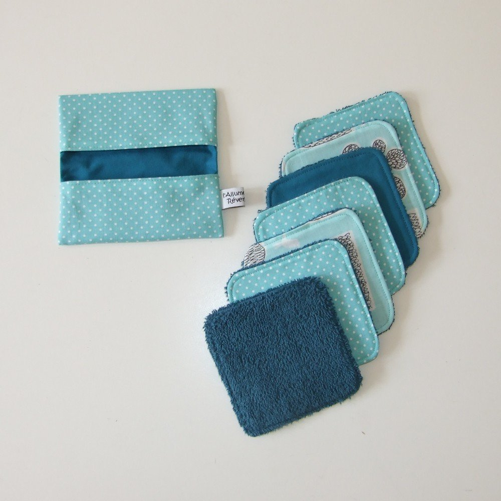 Turban de bain et lingettes lavables imprimé pois menthe éponge bleue canard--9995256201350