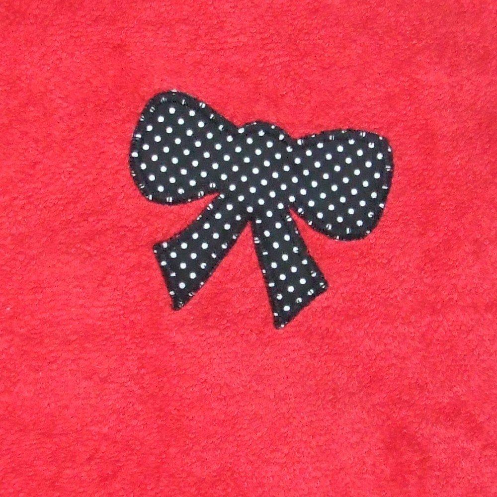 Turban de bain imprimé pois noirs en éponge rouge--9995256095140