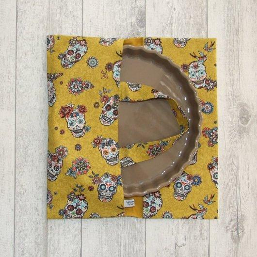 Sac à tarte en tissu coton imprimé Calaveras -jaune-