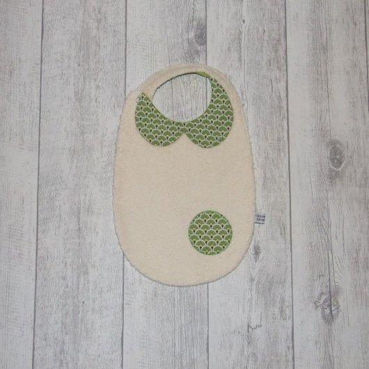 Bavoir col-Claudine en tissu imprimé éventails verts