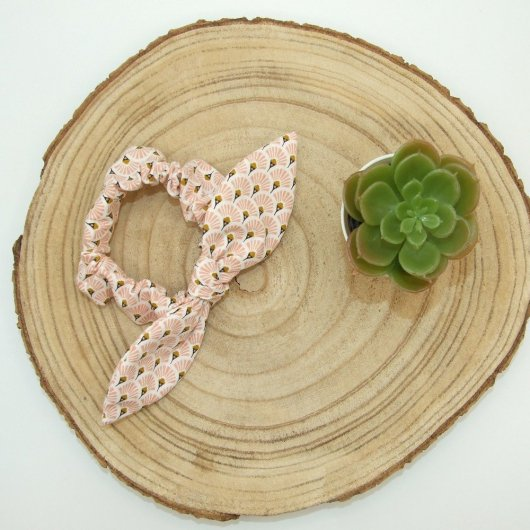 Chouchou noeud -éventails rose-