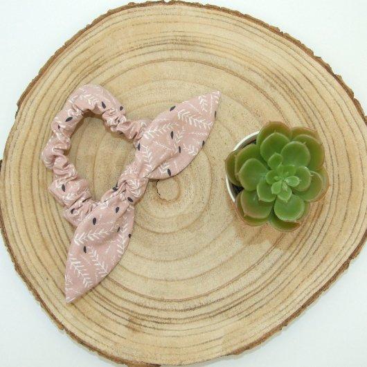 Chouchou noeud -feuilles rose-
