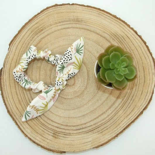 Chouchou noeud -feuilles vert/rose-
