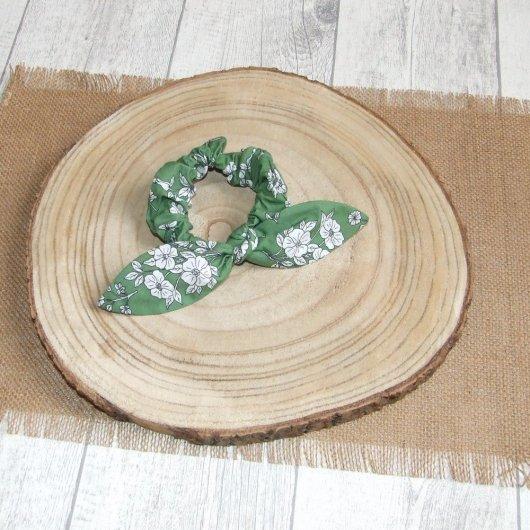 Chouchou noeud -fleurs vert-
