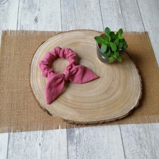 Chouchou noeud -vieux rose-