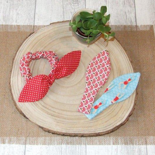 Chouchou noeud éventails, pois et nageuses -bleu/rouge-
