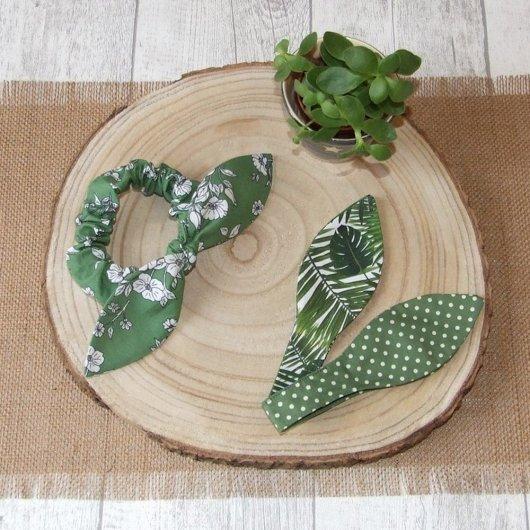 Chouchou noeud fleurs, feuilles et pois -vert-