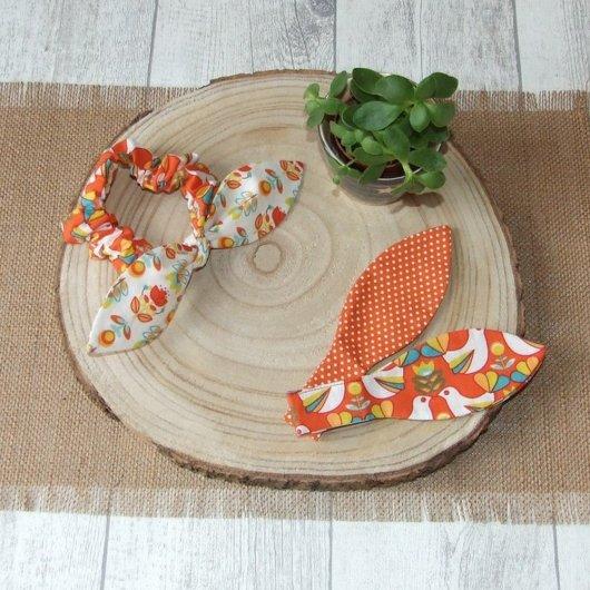 Chouchou noeud oiseaux, fleurs et pois -orange-