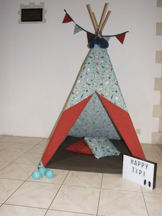 Tipi et tapis dinosaures/rouille/taupe