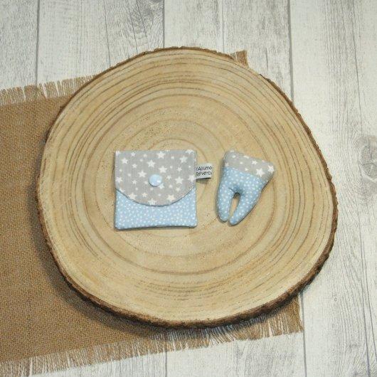 Dent pour la petite souris, imprimé étoiles et confettis bleu