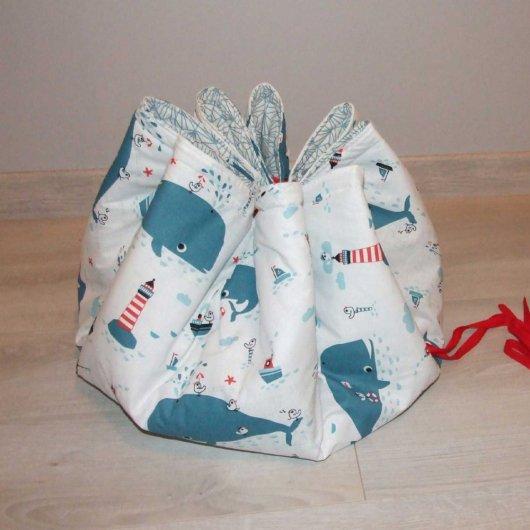 Sac à jouets nomade molletonné baleines et origami