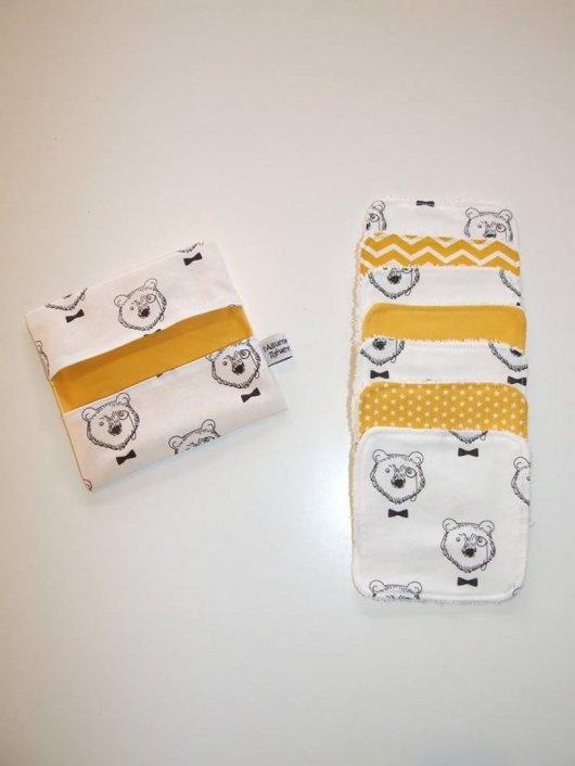 Lingettes lavables ours et tissus jaune