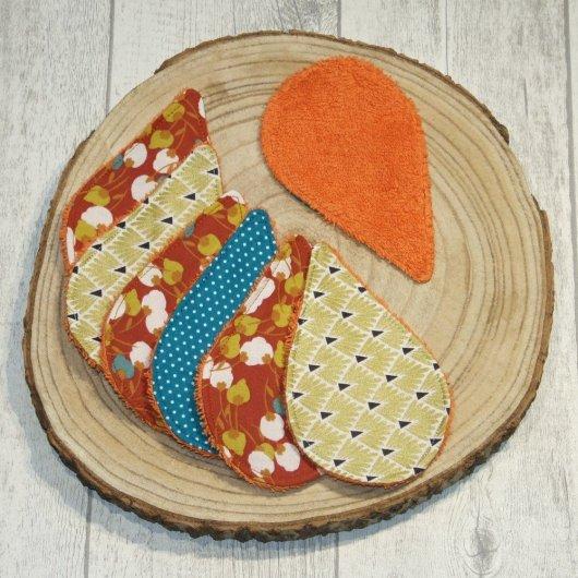 Lingettes lavables tissu bourgeons de fleurs, éponge terracotta