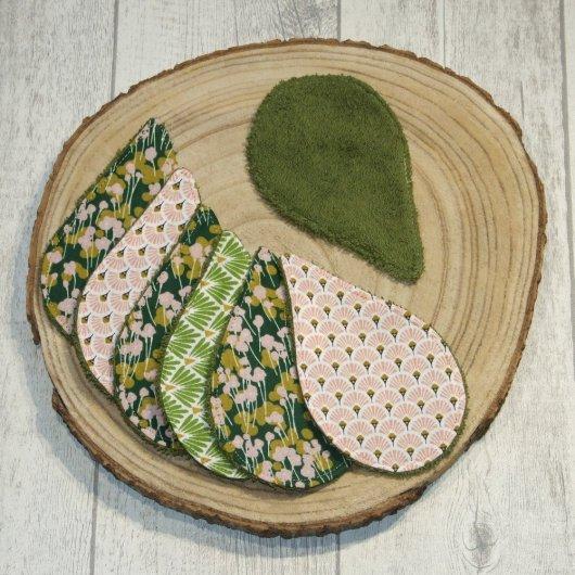 Lingettes lavables tissu fleurs vert/rose, éponge olive