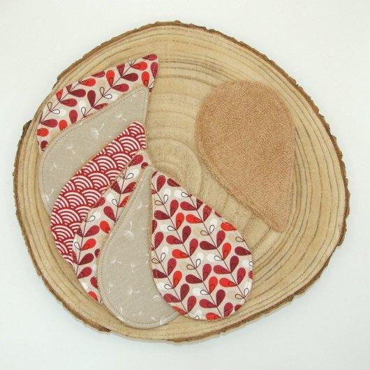 Lingettes lavables tissu graphique bordeaux, éponge beige