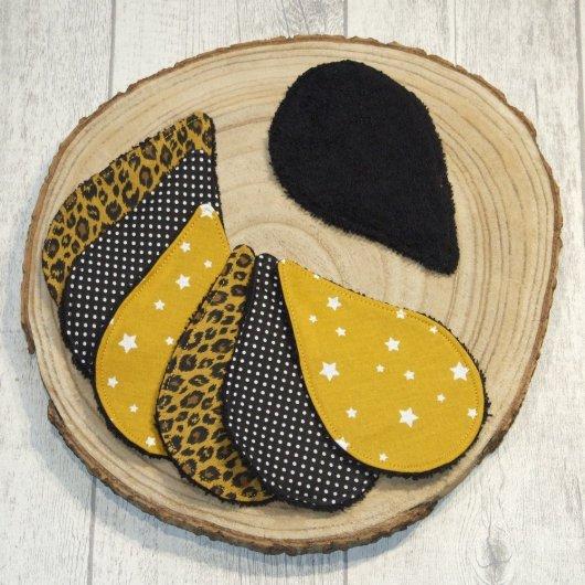 Lingettes lavables tissu léopard, éponge noire