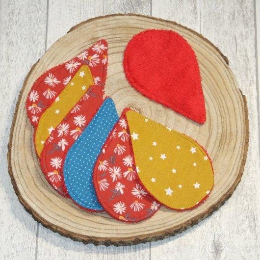 Lingettes lavables tissu marguerites, éponge rouge