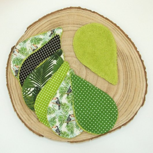 Lingettes lavables tissu toucans/pois/feuilles, éponge vert anis
