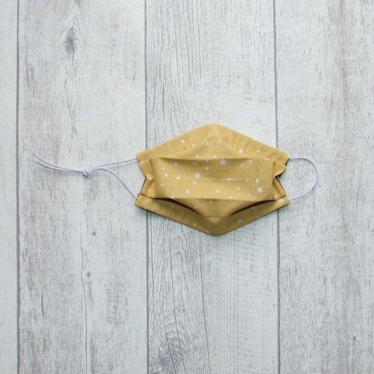 Masque en tissu étoiles jaune ENFANT  jusqu'à 8 ans  -AFNOR-