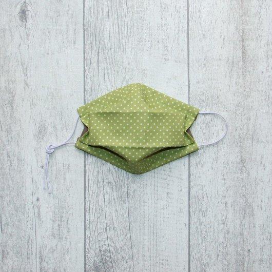 Masque en tissu pois vert ENFANT  jusqu'à 8 ans  -AFNOR-