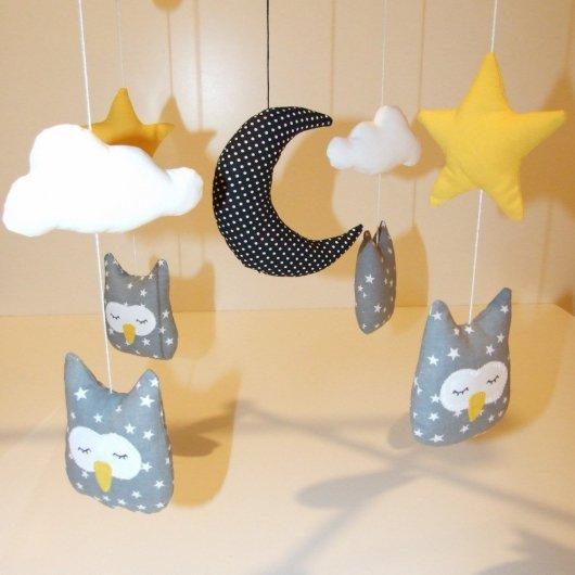 Mobile hiboux-nuages-étoiles-lune (sans potence)