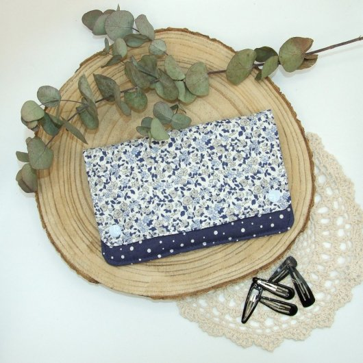 Pochette à barrettes -fleurs bleu ciel/marine-