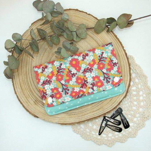 Pochette à barrettes -fleurs rouge/menthe-