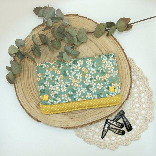 Pochette à barrettes -fleurs vert/jaune-