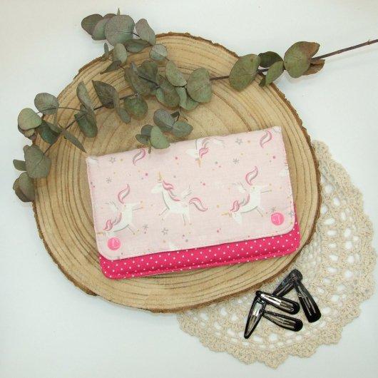 Pochette à barrettes -licornes rose-