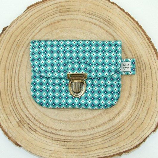 Porte-monnaie imprimé losanges turquoise/bleu marine