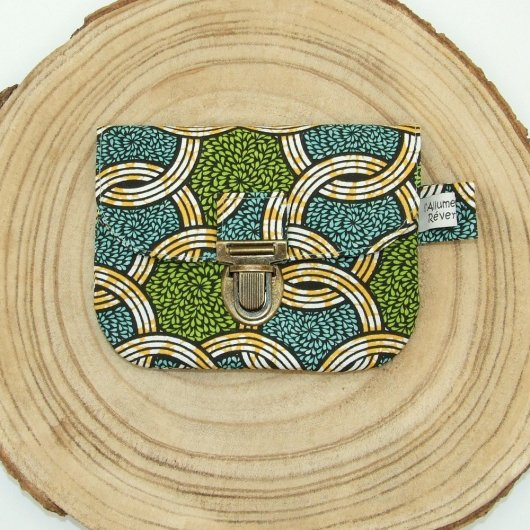 Porte-monnaie imprimé style wax bleu/vert