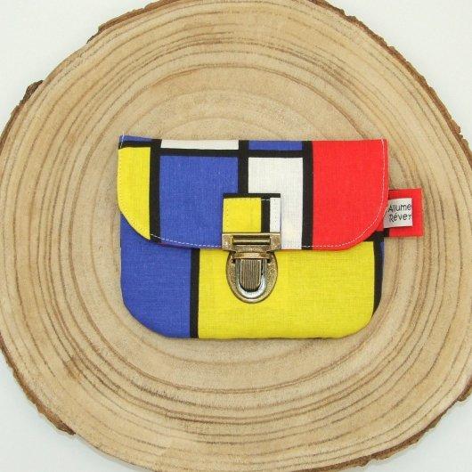 Porte-monnaie imprimé style Mondrian