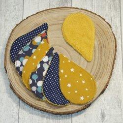 Lingettes lavables tissu bulles colorées, éponge jaune