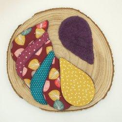 Lingettes lavables tissu feuilles prune, éponge violette