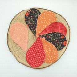 Lingettes lavables tissu fleurs rouge, éponge saumon