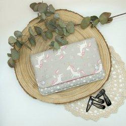 Pochette à barrettes -licornes gris-