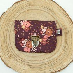 Porte-monnaie imprimé fleurs rose/prune